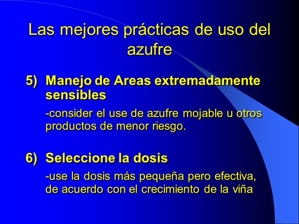 Las mejores prácticas de uso del azufre 5)Manejo de Areas extremadamente sensibles -consider el use de azufre mojable u otros productos de menor riesg