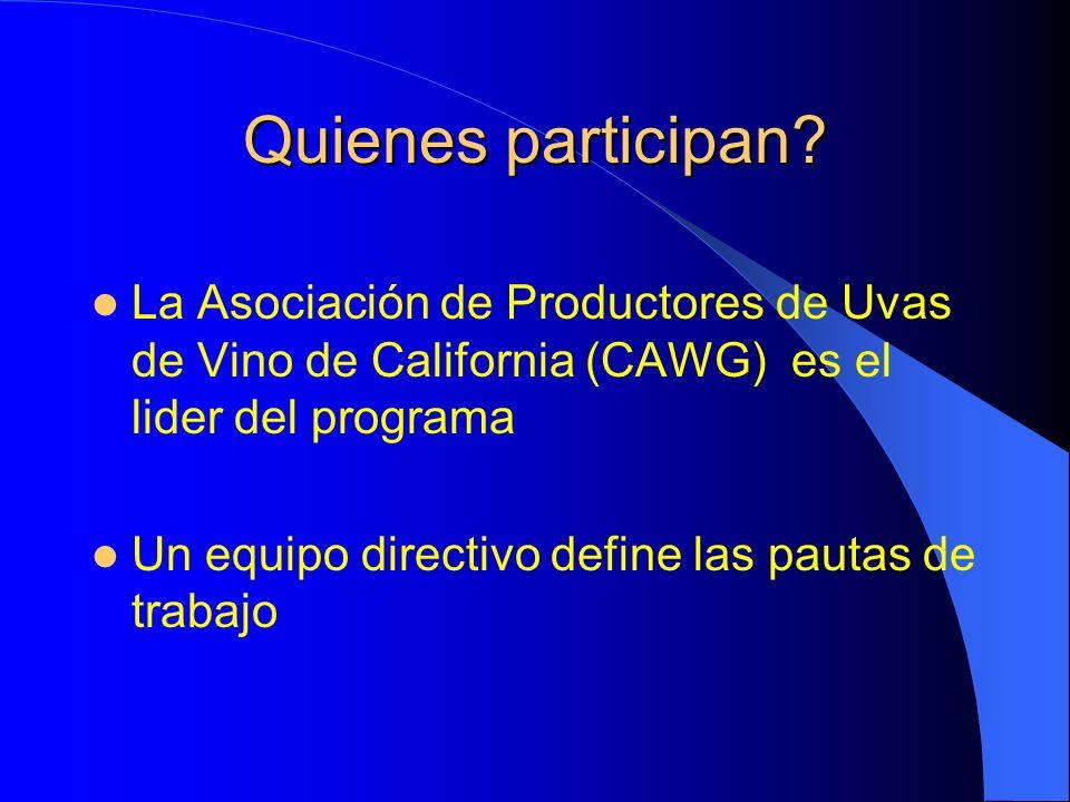 Quienes participan? La Asociación de Productores de Uvas de Vino de California (CAWG) es el lider del programa Un equipo directivo define las pautas d