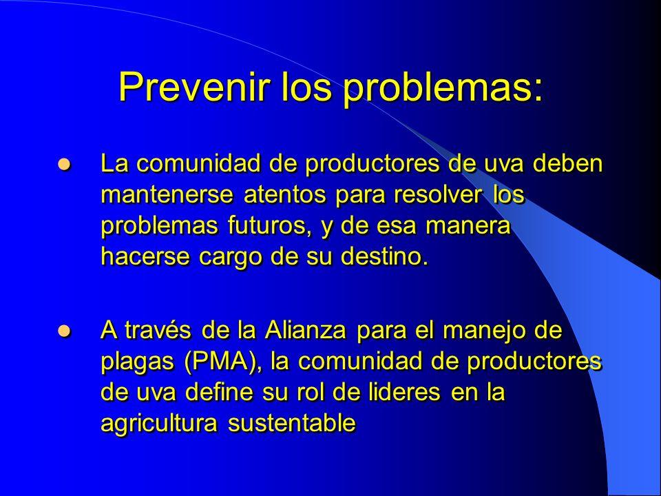 Prevenir los problemas: La comunidad de productores de uva deben mantenerse atentos para resolver los problemas futuros, y de esa manera hacerse cargo