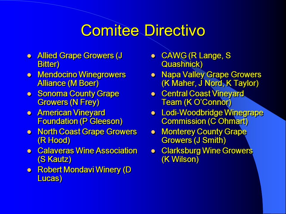 Comitee Directivo Allied Grape Growers (J Bitter) Mendocino Winegrowers Alliance (M Boer) Sonoma County Grape Growers (N Frey) American Vineyard Found