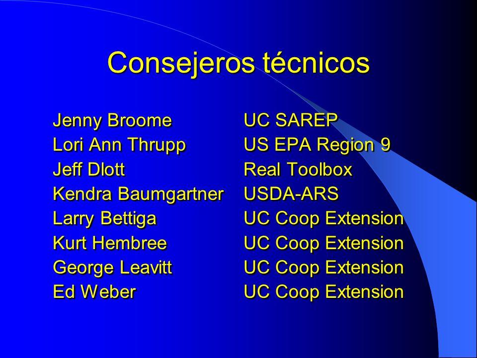Consejeros técnicos Jenny Broome UC SAREP Lori Ann Thrupp US EPA Region 9 Jeff Dlott Real Toolbox Kendra Baumgartner USDA-ARS Larry Bettiga UC Coop Ex