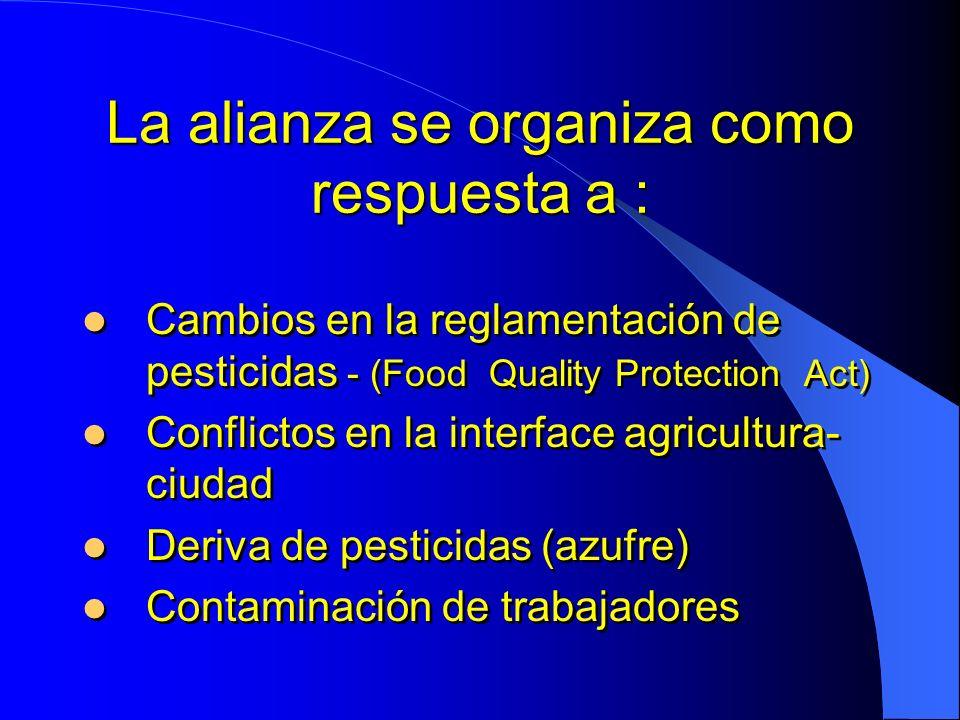 Misión de la Alianza para el manejo de plagas Promover practicas de manejo de plagas que disminuyan la posibilidad de daño al ambiente y a los seres humanos, manteniendo al mismo tiempo la viabilidad económica del cultivo para el beneficio de los productores de uva de vino, los consumidores y el ambiente