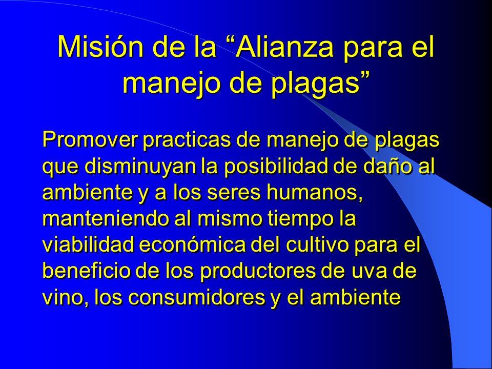 Misión de la Alianza para el manejo de plagas Promover practicas de manejo de plagas que disminuyan la posibilidad de daño al ambiente y a los seres h
