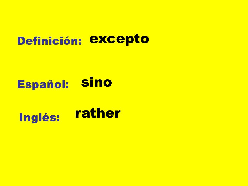 Definición: Español: Inglés: excepto sino rather