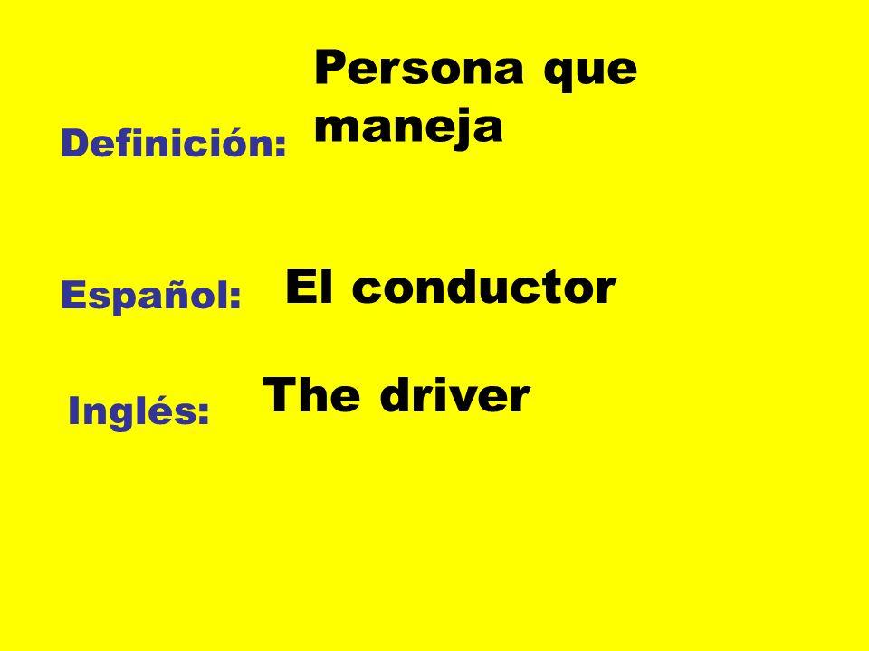 Definición: Español: Inglés: Persona que maneja El conductor The driver