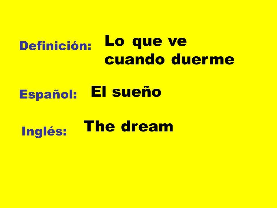 Definición: Español: Inglés: Lo que ve cuando duerme El sueño The dream