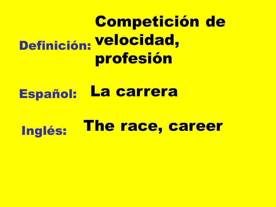 Definición: Español: Inglés: Competición de velocidad, profesión La carrera The race, career