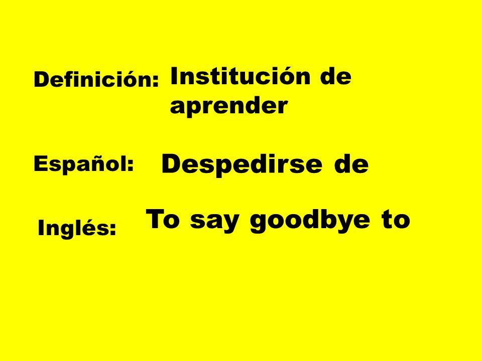 Definición: Español: Inglés: Unir en matrimonio Casarse con To get married