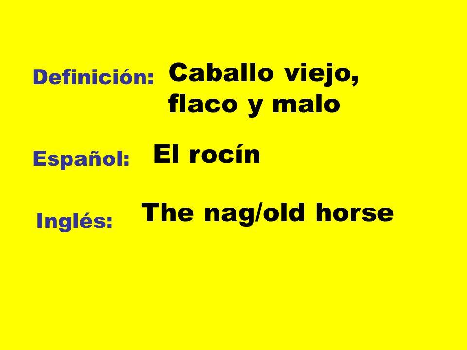Definición: Español: Inglés: Caballo viejo, flaco y malo El rocín The nag/old horse