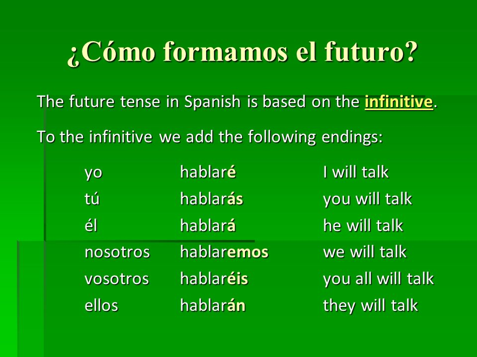 ¿Cómo formamos el futuro. The future tense in Spanish is based on the infinitive.