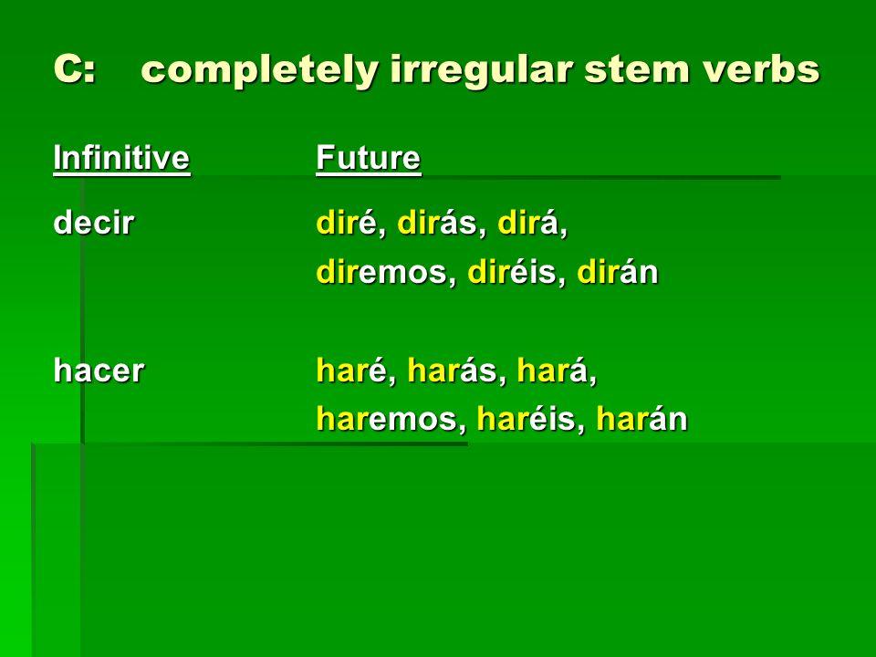 C:completely irregular stem verbs InfinitiveFuture decir diré, dirás, dirá, diremos, diréis, dirán hacer haré, harás, hará, haremos, haréis, harán