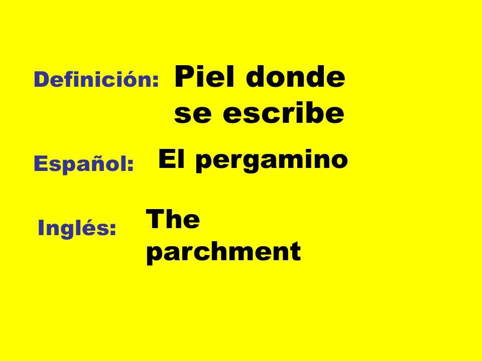 Definición: Español: Inglés: Piel donde se escribe El pergamino The parchment