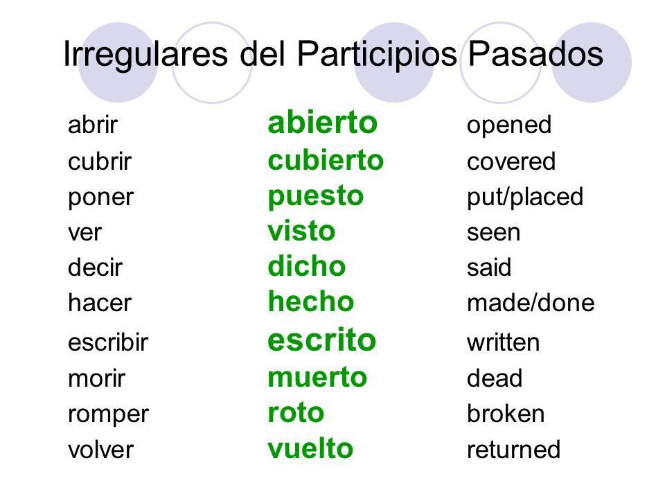 El Pluscuamperfecto (past perfect) haber (to had done …) + PARTICIPIO PASADO (in the IMPERFECT tense) yo(I had …)+ tú (you had..) + él (he had..)+ nosotros (we had..)+ vosotros(yall had.) + ellos(they had.)+ -ado -ido Note: The Past Participle STAYS THE SAME, Only HABER CHANGES había habías había habíamos habíais habían
