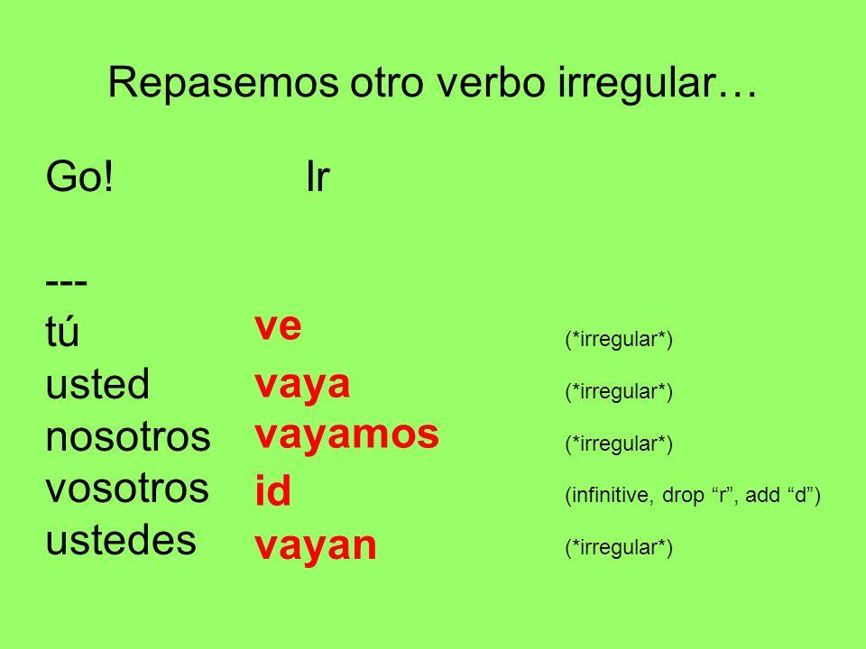 Repasemos otro verbo irregular… Go! Ir --- tú (*irregular*) usted (*irregular*) nosotros (*irregular*) vosotros (infinitive, drop r, add d) ustedes (*