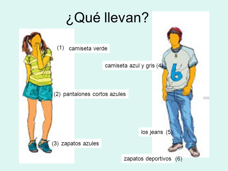¿Qué llevan? camiseta verde pantalones cortos azules zapatos azules camiseta azul y gris los jeans zapatos deportivos (1) (2) (3) (4) (5) (6)