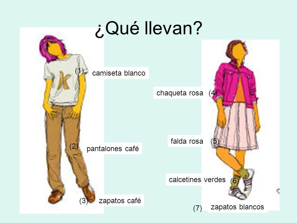 ¿Qué llevan? camiseta blanco pantalones café zapatos café chaqueta rosa falda rosa calcetines verdes zapatos blancos (1) (2) (3) (4) (5) (6) (7)