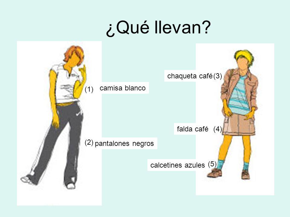 ¿Qué llevan? camisa blanco pantalones negros chaqueta café falda café calcetines azules (1) (2) (3) (4) (5)