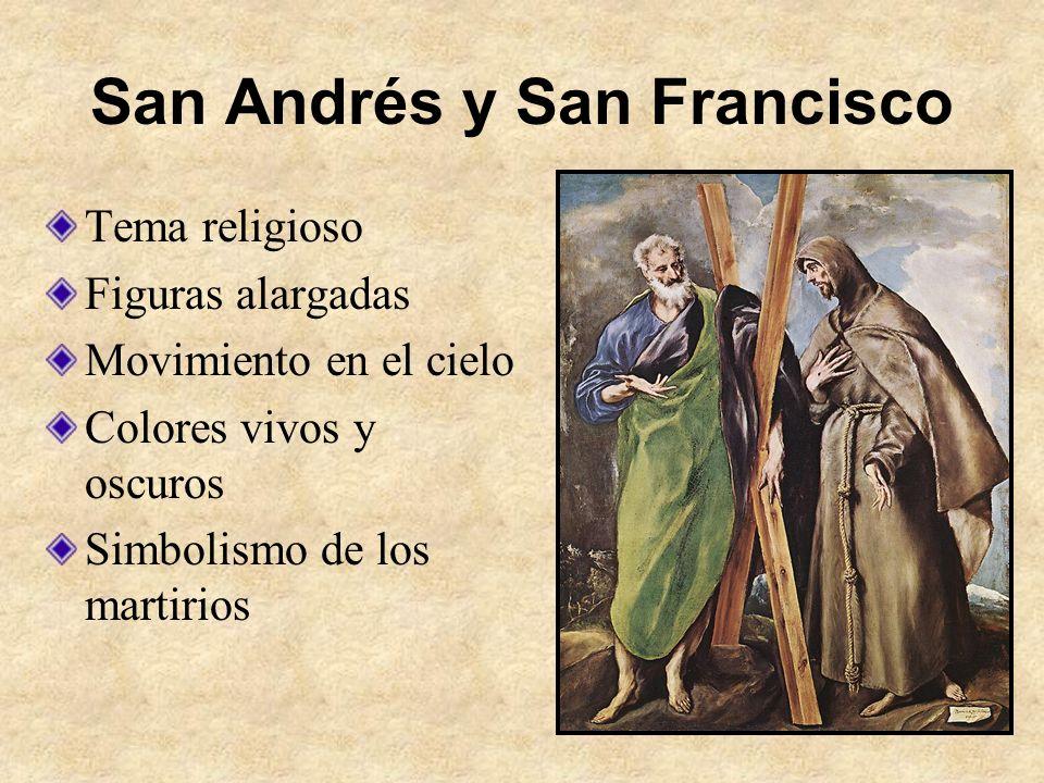 San Andrés y San Francisco Tema religioso Figuras alargadas Movimiento en el cielo Colores vivos y oscuros Simbolismo de los martirios