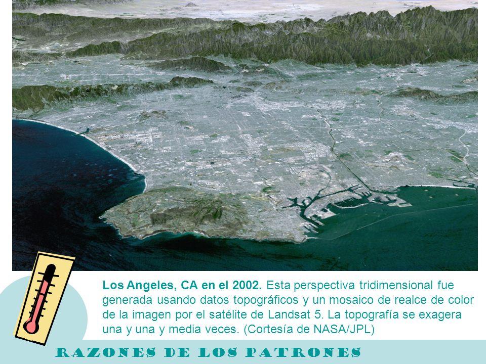 Los Angeles, CA en el 2002. Esta perspectiva tridimensional fue generada usando datos topográficos y un mosaico de realce de color de la imagen por el