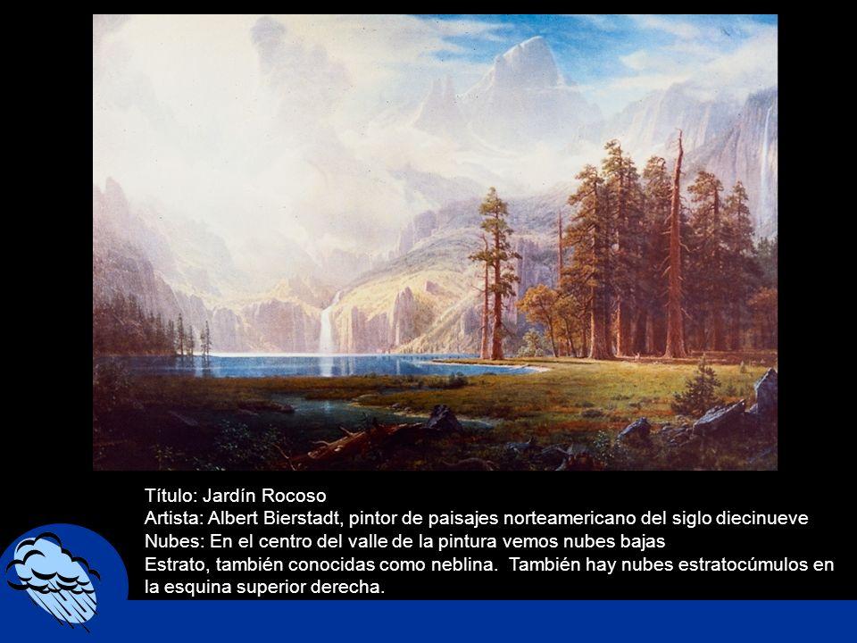 Título: Jardín Rocoso Artista: Albert Bierstadt, pintor de paisajes norteamericano del siglo diecinueve Nubes: En el centro del valle de la pintura ve