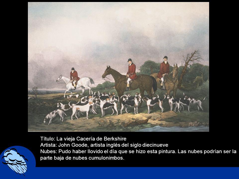 Título: La vieja Cacería de Berkshire Artista: John Goode, artista inglés del siglo diecinueve Nubes: Pudo haber llovido el día que se hizo esta pintu