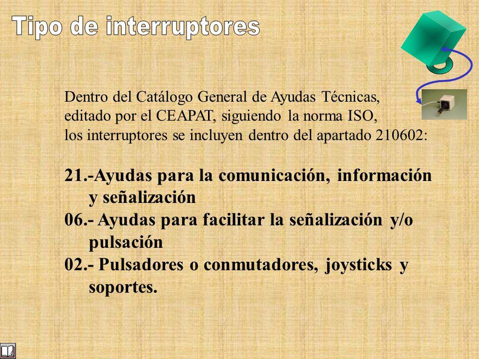Dentro del Catálogo General de Ayudas Técnicas, editado por el CEAPAT, siguiendo la norma ISO, los interruptores se incluyen dentro del apartado 21060