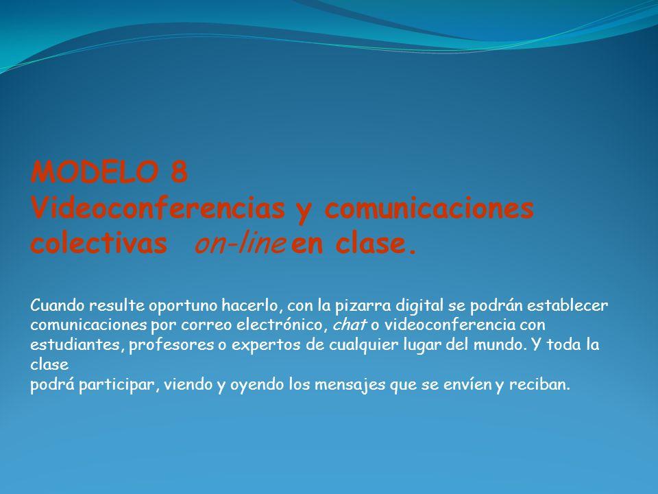 MODELO 8 Videoconferencias y comunicaciones colectivas on-line en clase. Cuando resulte oportuno hacerlo, con la pizarra digital se podrán establecer