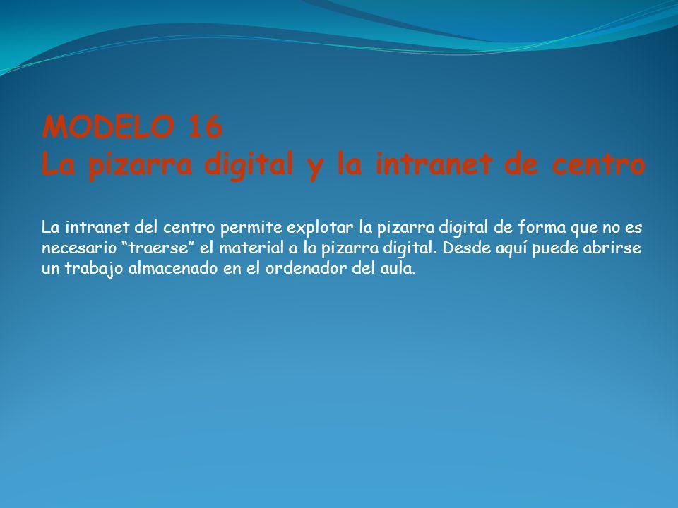 MODELO 16 La pizarra digital y la intranet de centro La intranet del centro permite explotar la pizarra digital de forma que no es necesario traerse e
