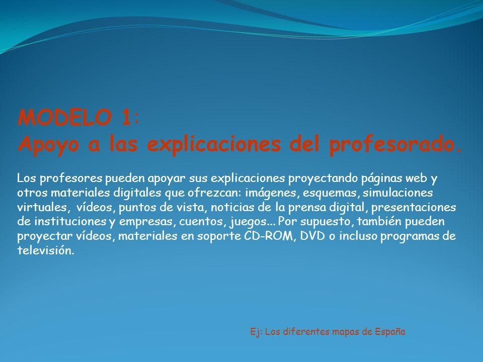MODELO 1: Apoyo a las explicaciones del profesorado. Los profesores pueden apoyar sus explicaciones proyectando páginas web y otros materiales digital