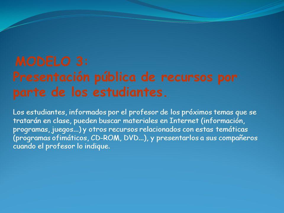 MODELO 3: Presentación pública de recursos por parte de los estudiantes. Los estudiantes, informados por el profesor de los próximos temas que se trat