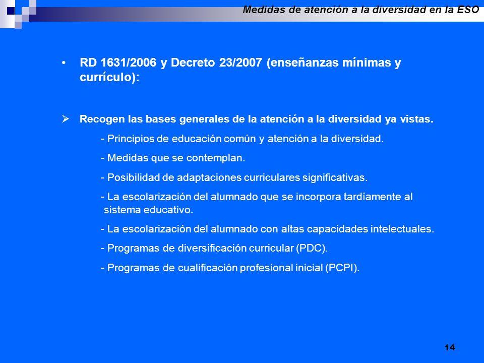 14 RD 1631/2006 y Decreto 23/2007 (enseñanzas mínimas y currículo): Recogen las bases generales de la atención a la diversidad ya vistas. - Principios