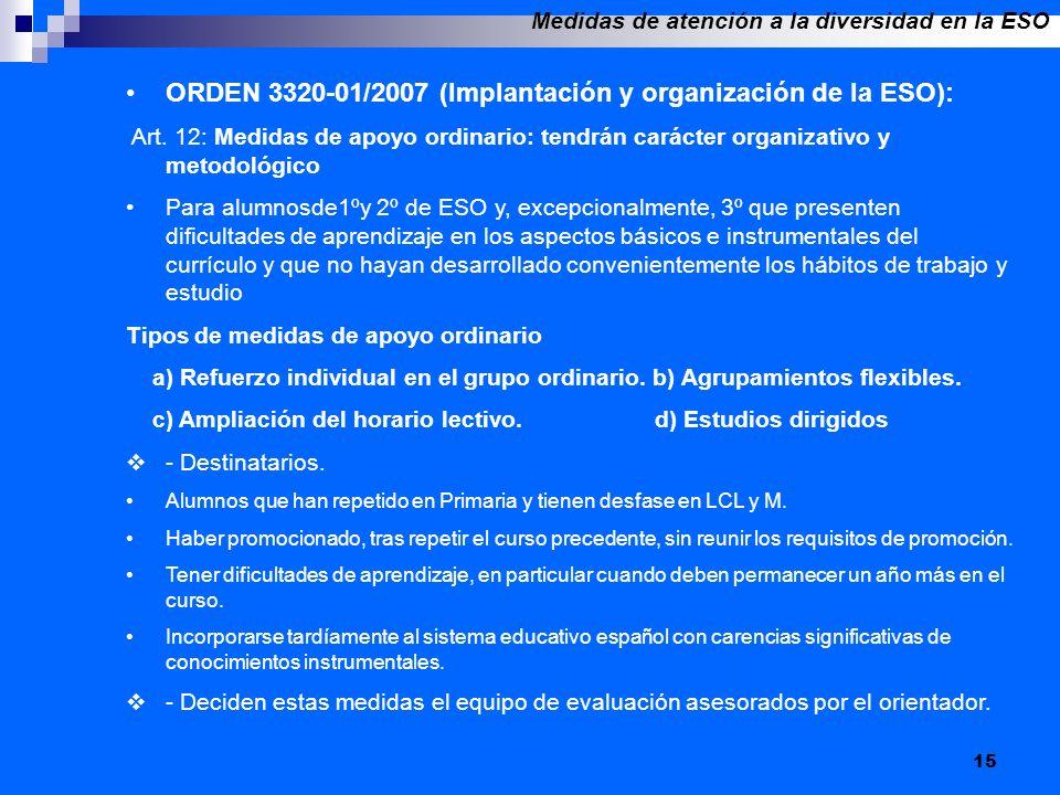 15 ORDEN 3320-01/2007 (Implantación y organización de la ESO): Art. 12: Medidas de apoyo ordinario: tendrán carácter organizativo y metodológico Para