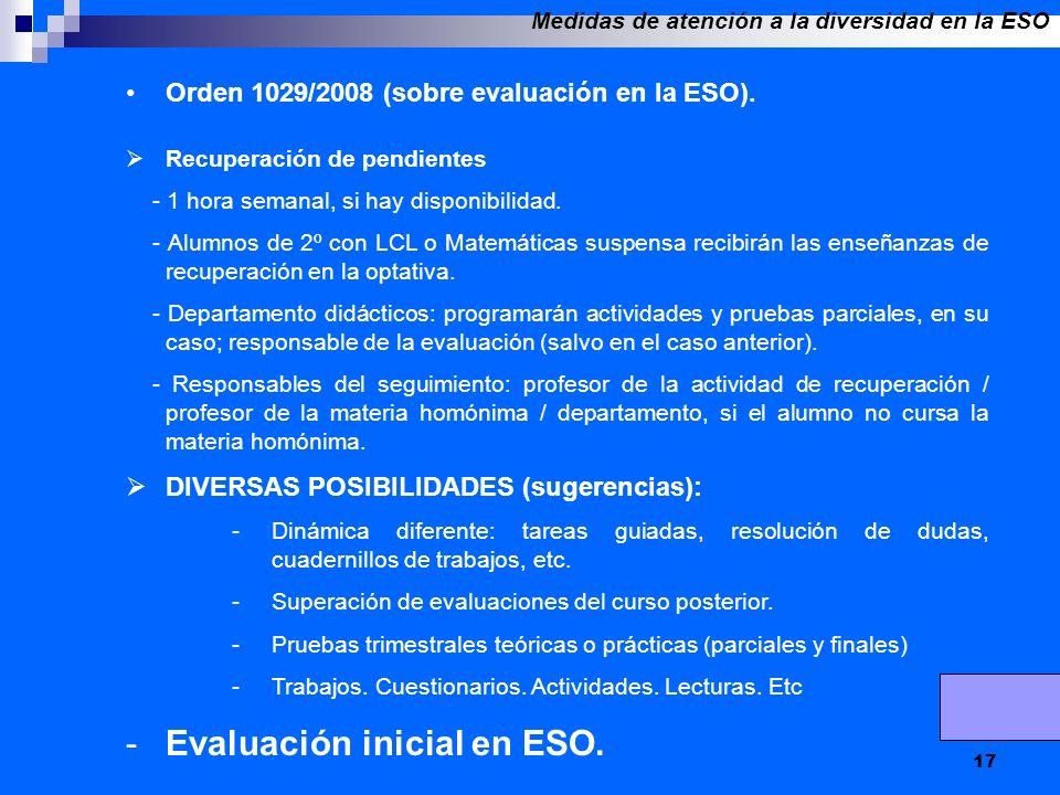17 Orden 1029/2008 (sobre evaluación en la ESO). Recuperación de pendientes - 1 hora semanal, si hay disponibilidad. - Alumnos de 2º con LCL o Matemát