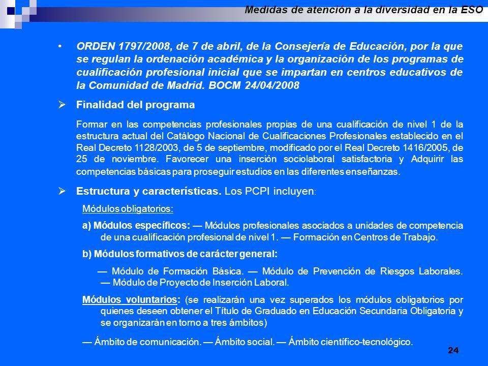 24 ORDEN 1797/2008, de 7 de abril, de la Consejería de Educación, por la que se regulan la ordenación académica y la organización de los programas de