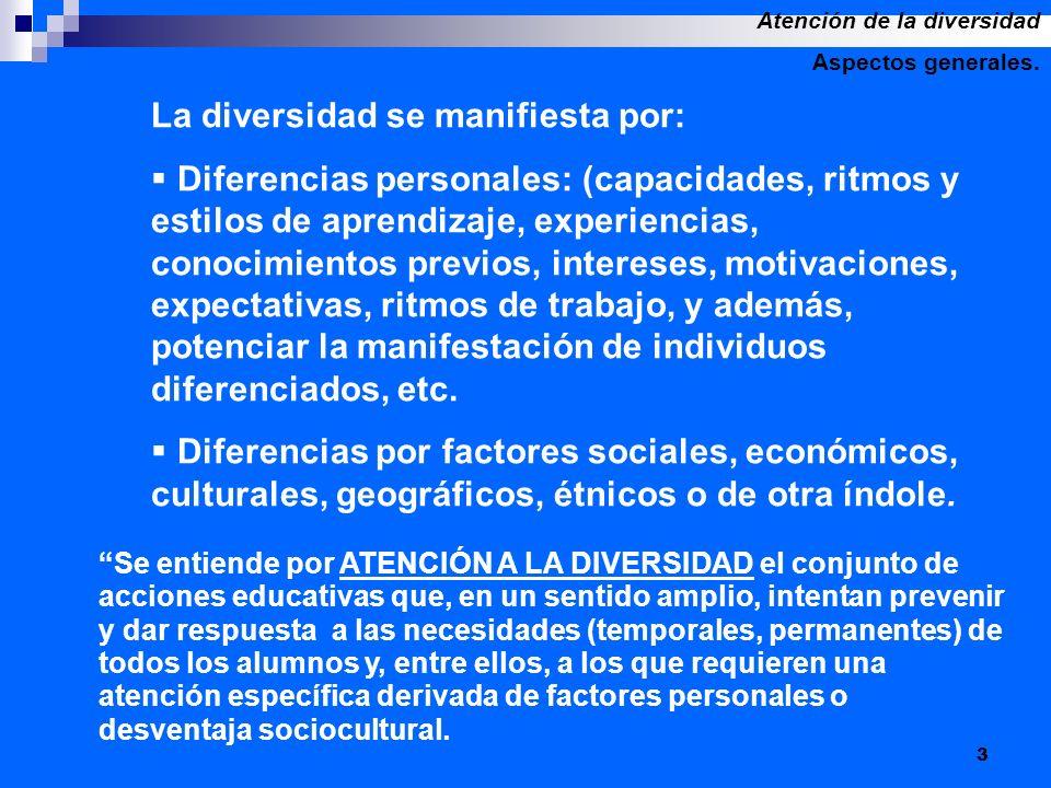 3 La diversidad se manifiesta por: Diferencias personales: (capacidades, ritmos y estilos de aprendizaje, experiencias, conocimientos previos, interes