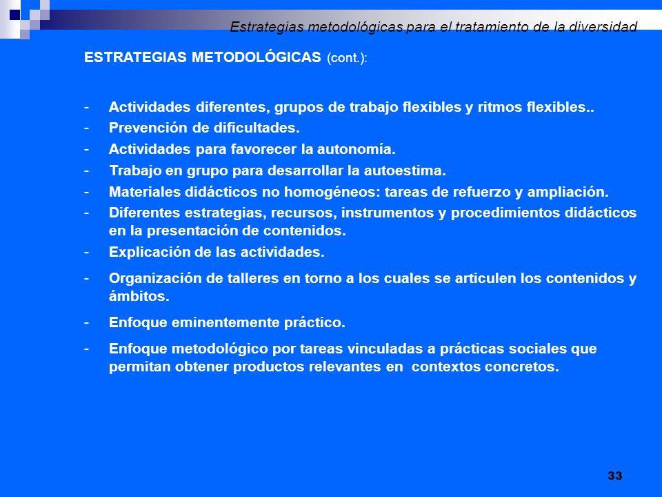 33 ESTRATEGIAS METODOLÓGICAS (cont.): -Actividades diferentes, grupos de trabajo flexibles y ritmos flexibles.. -Prevención de dificultades. -Activida