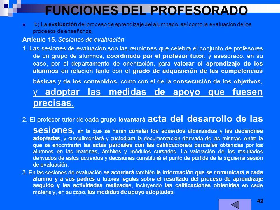 FUNCIONES DEL PROFESORADO b) La evaluación del proceso de aprendizaje del alumnado, así como la evaluación de los procesos de enseñanza. Artículo 15.