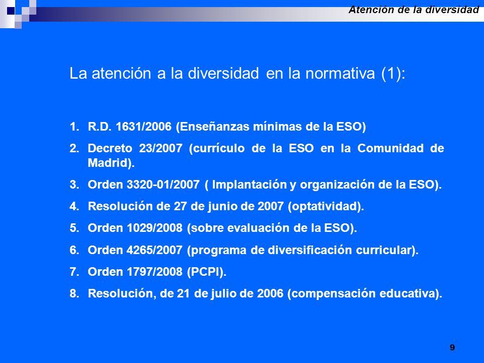 9 La atención a la diversidad en la normativa (1): 1.R.D. 1631/2006 (Enseñanzas mínimas de la ESO) 2.Decreto 23/2007 (currículo de la ESO en la Comuni