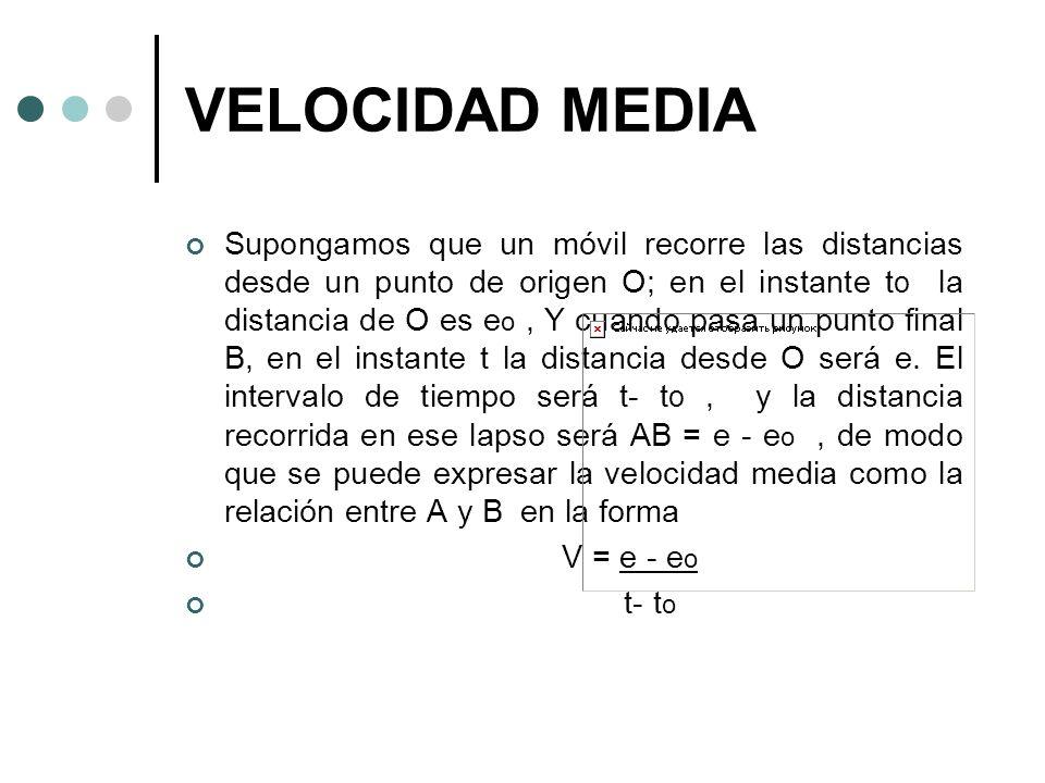 VELOCIDAD MEDIA Supongamos que un móvil recorre las distancias desde un punto de origen O; en el instante t o la distancia de O es e o, Y cuando pasa