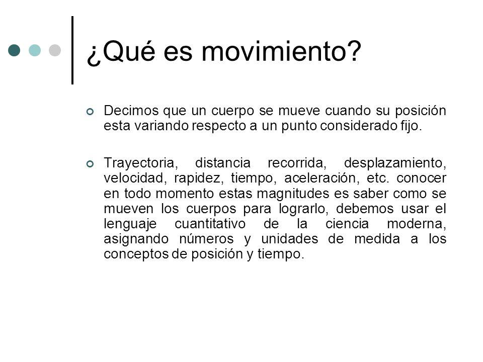 ¿Qué es movimiento? Decimos que un cuerpo se mueve cuando su posición esta variando respecto a un punto considerado fijo. Trayectoria, distancia recor