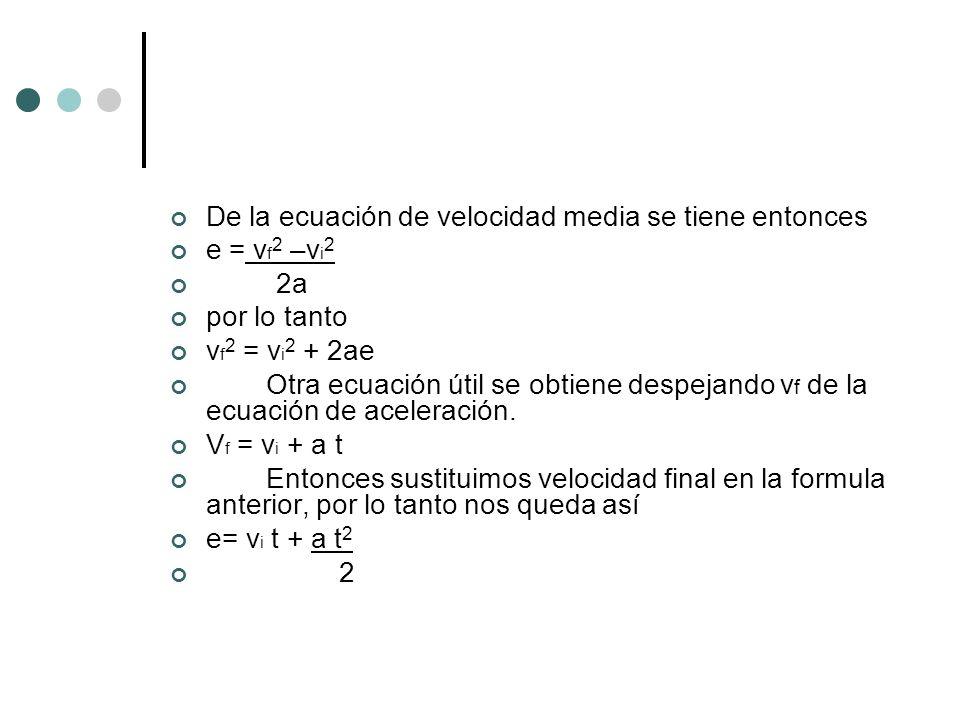 De la ecuación de velocidad media se tiene entonces e = v f 2 –v i 2 2a por lo tanto v f 2 = v i 2 + 2ae Otra ecuación útil se obtiene despejando v f