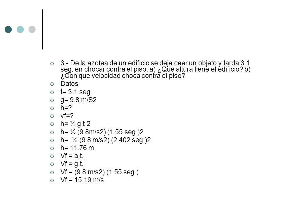3.- De la azotea de un edificio se deja caer un objeto y tarda 3.1 seg. en chocar contra el piso. a) ¿Qué altura tiene el edificio? b) ¿Con que veloci