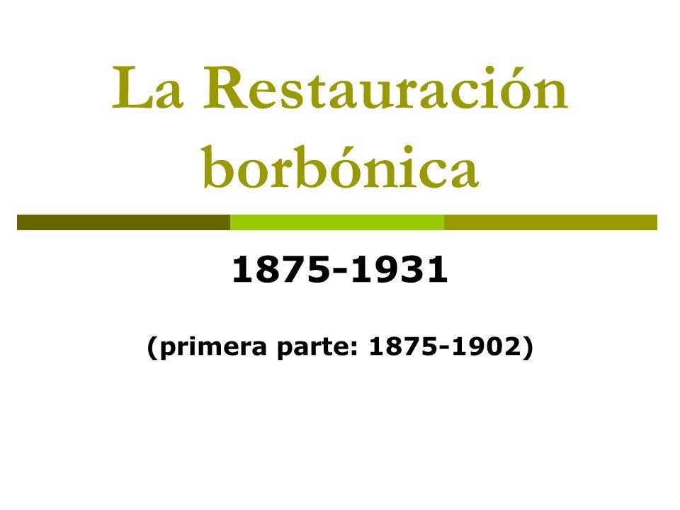 Fundamentos políticos del régimen: Las oposiciones: el carlismo La derrota del carlismo en 1876: hundimiento como alternativa.