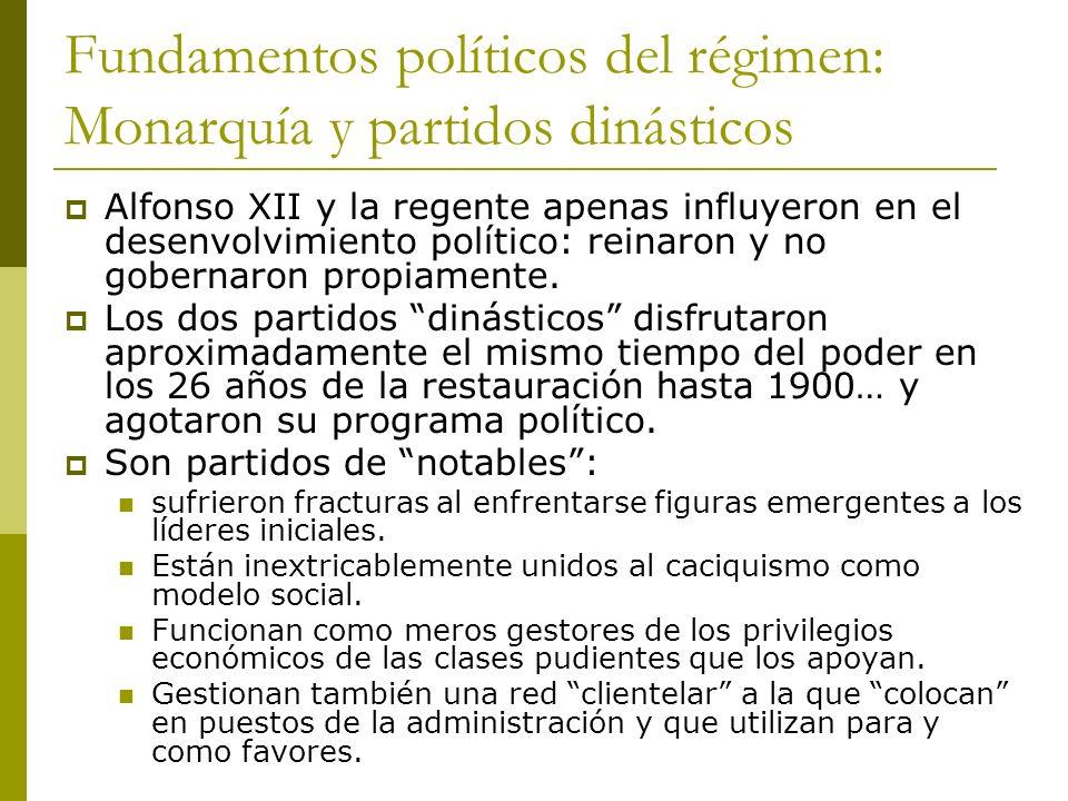 Fundamentos políticos del régimen: Monarquía y partidos dinásticos Alfonso XII y la regente apenas influyeron en el desenvolvimiento político: reinaro