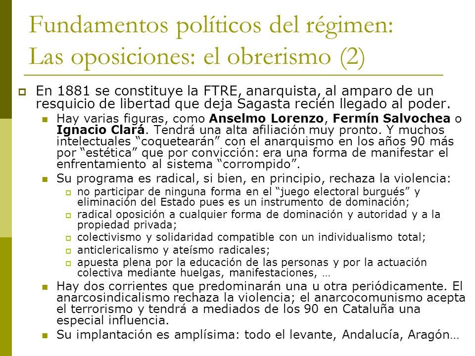 Fundamentos políticos del régimen: Las oposiciones: el obrerismo (2) En 1881 se constituye la FTRE, anarquista, al amparo de un resquicio de libertad