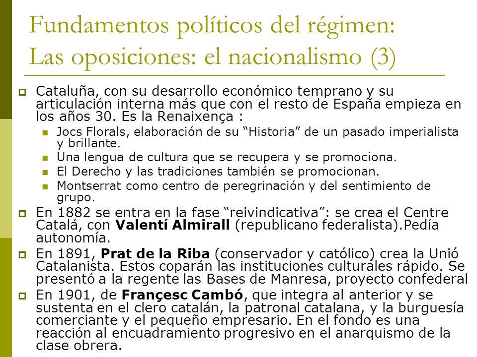Fundamentos políticos del régimen: Las oposiciones: el nacionalismo (3) Cataluña, con su desarrollo económico temprano y su articulación interna más q