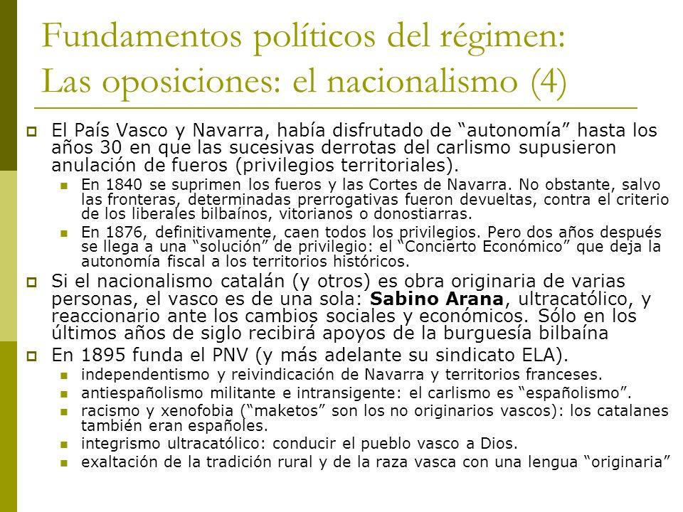 Fundamentos políticos del régimen: Las oposiciones: el nacionalismo (4) El País Vasco y Navarra, había disfrutado de autonomía hasta los años 30 en qu
