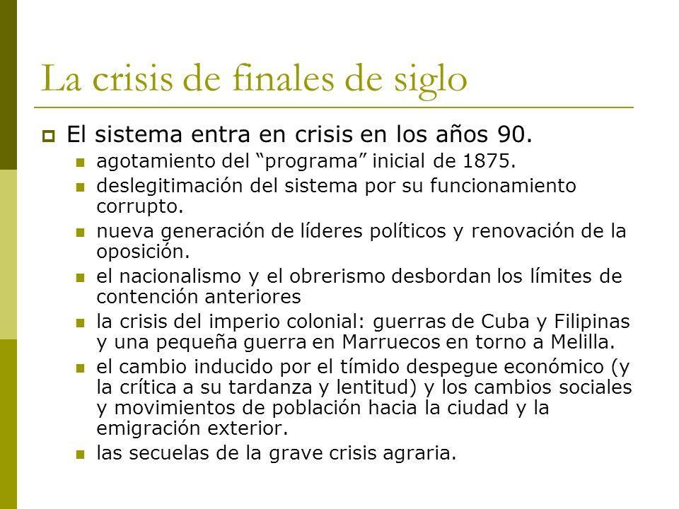 La crisis de finales de siglo El sistema entra en crisis en los años 90. agotamiento del programa inicial de 1875. deslegitimación del sistema por su