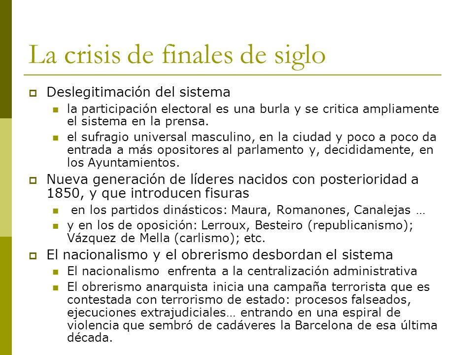 La crisis de finales de siglo Deslegitimación del sistema la participación electoral es una burla y se critica ampliamente el sistema en la prensa. el