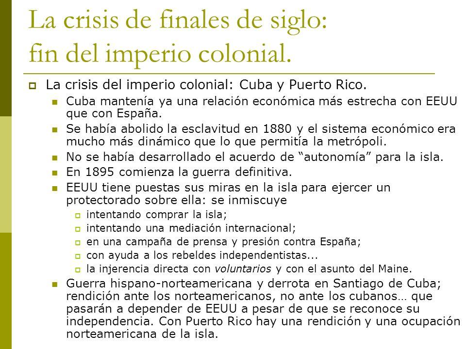 La crisis de finales de siglo: fin del imperio colonial. La crisis del imperio colonial: Cuba y Puerto Rico. Cuba mantenía ya una relación económica m